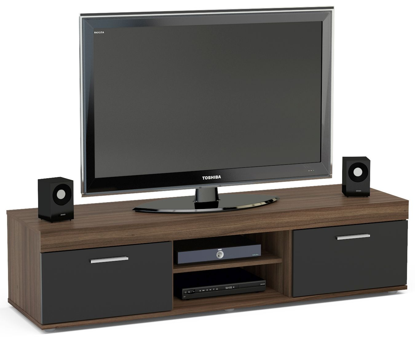 Birlea Edgeware Medium TV Unit - Walnut and Black