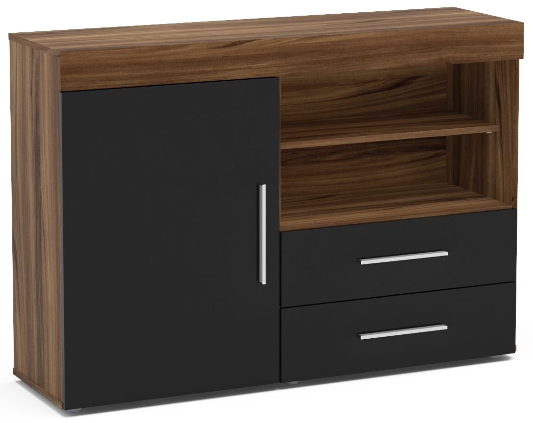Birlea Edgeware Sideboard - Walnut and Black