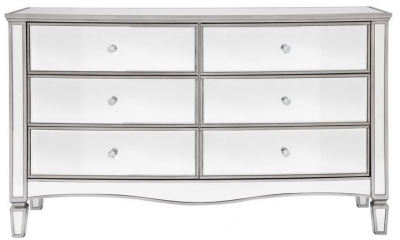 Birlea Elysee Mirrored 6 Drawer Wide Chest