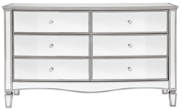 Birlea Elysee Mirrored 6 Drawer Wide Chest