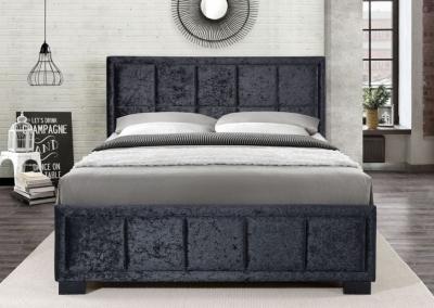 Birlea Hannover Black Crushed Velvet Fabric Bed