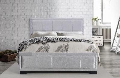 Birlea Hannover Steel Crushed Velvet Fabric Bed