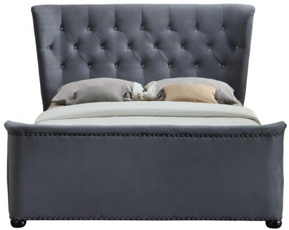 Birlea Barkley Grey Velvet Fabric Bed