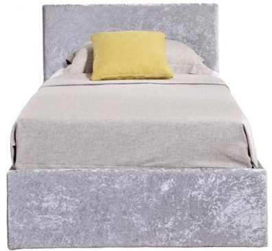 Birlea Berlin Ottoman Steel Crushed Velvet Fabric Bed