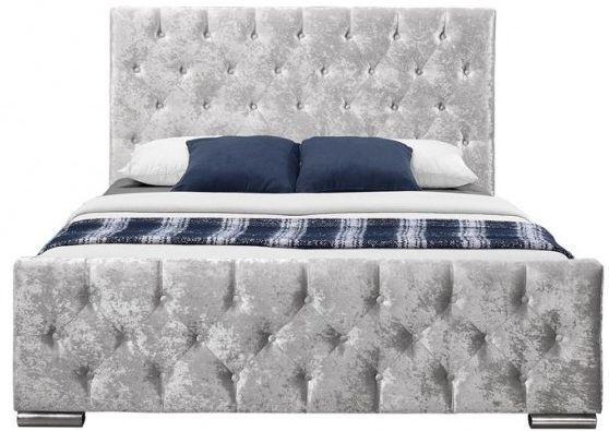 Birlea Finsbury Steel Crushed Velvet Fabric Bed