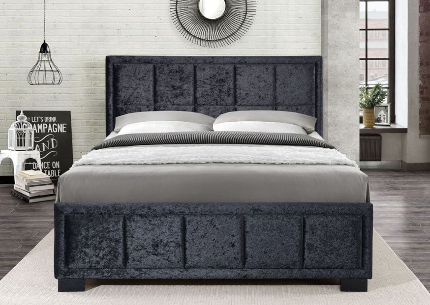 Birlea Hannover Black Crushed Velvet Fabric Bed