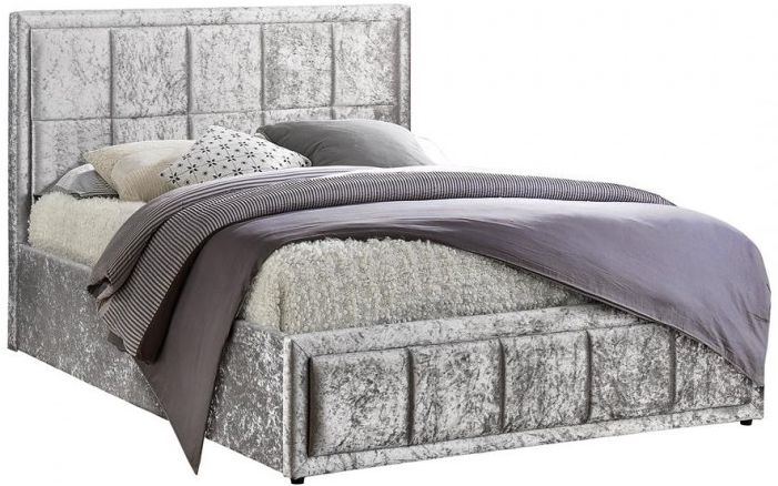 Birlea Hannover Ottoman Steel Crushed Velvet Fabric Bed