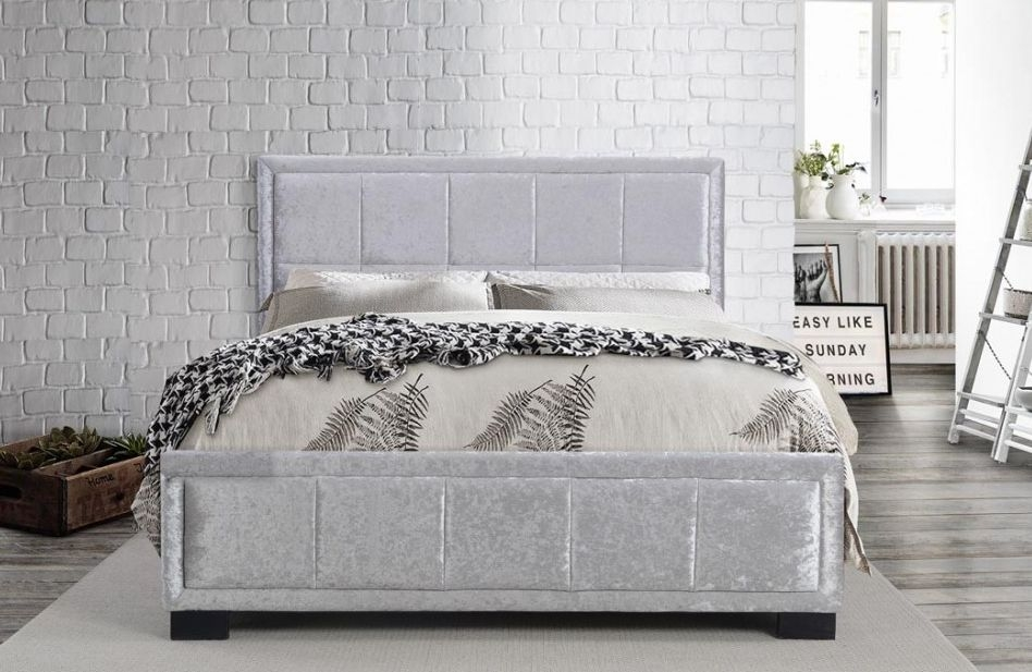 Birlea Hannover Steel Crushed Velvet Fabric Bed