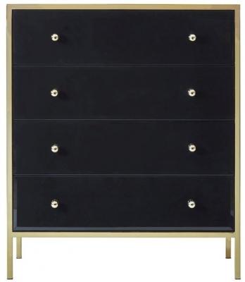 Birlea Fenwick 4 Drawer Small Chest - Black and Gold