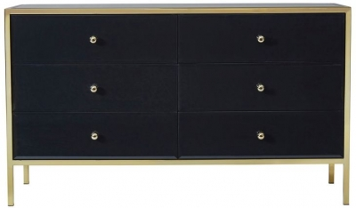 Birlea Fenwick 6 Drawer Medium Chest - Black and Gold