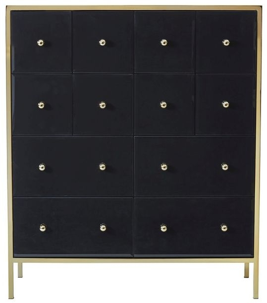 Birlea Fenwick 4+8 Drawer Large Chest - Black and Gold