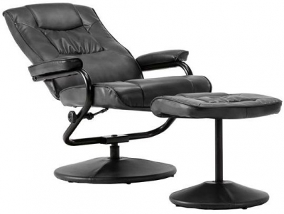 Birlea Memphis Black Faux Leather Swivel Recliner Chair and Footstool