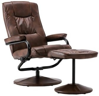 Birlea Memphis Tan Faux Leather Swivel Recliner Chair and Footstool