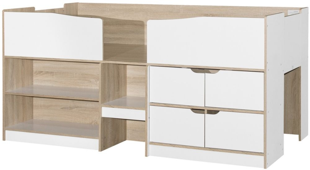 Birlea Merlin 3ft Cabin Bed - White and Light Oak