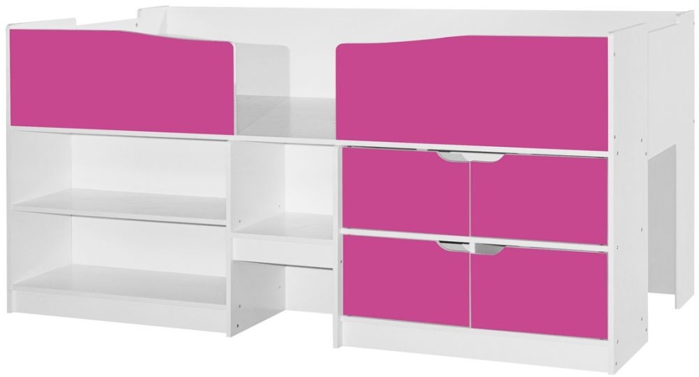 Birlea Merlin 3ft Cabin Bed - White and Pink