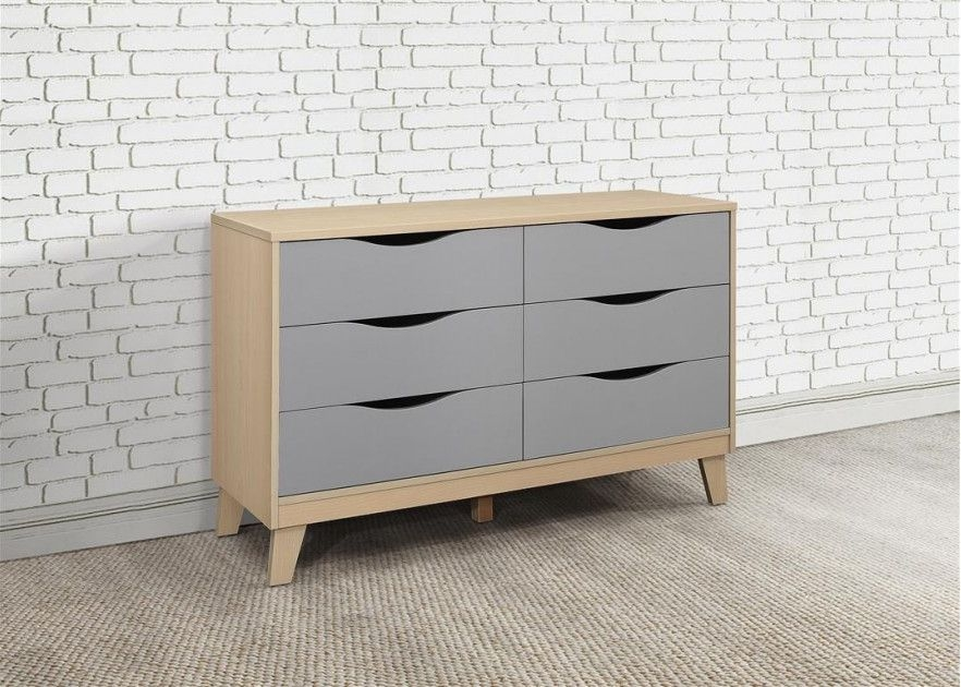 Kingston Beech and Grey Chest of Drawer - 3+3 Drawer