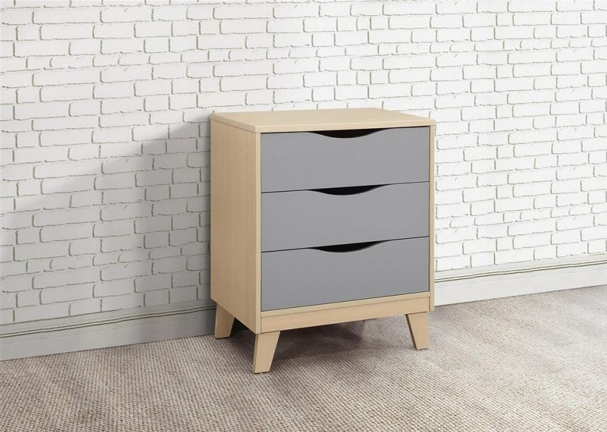 Kingston Beech and Grey Chest of Drawer - 3 Drawer