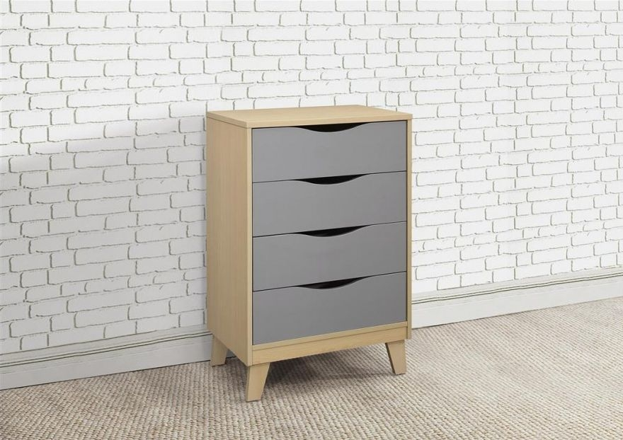 Kingston Beech and Grey Chest of Drawer -  4 Drawer