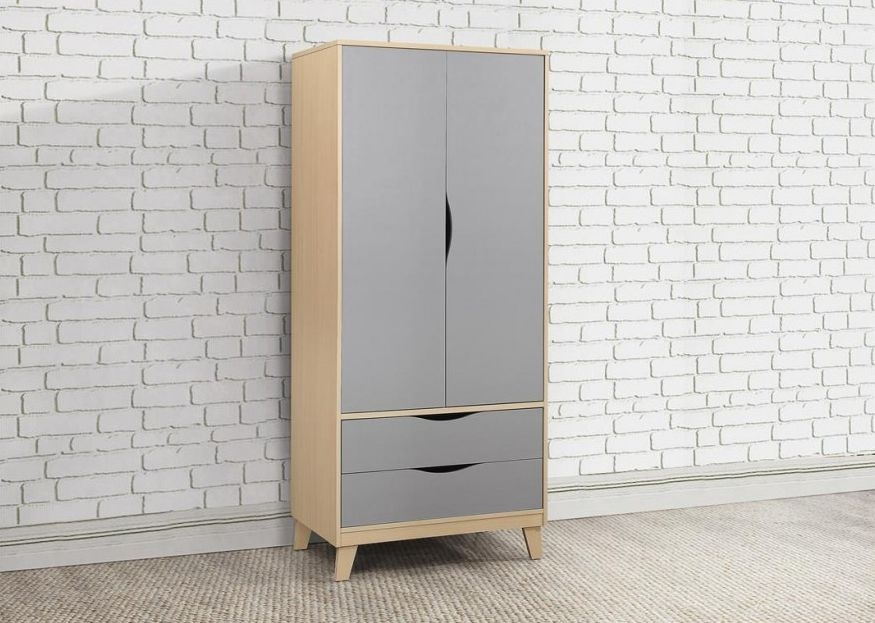 Kingston Beech and Grey Double Wardrobe - 2 Door 2 Drawer