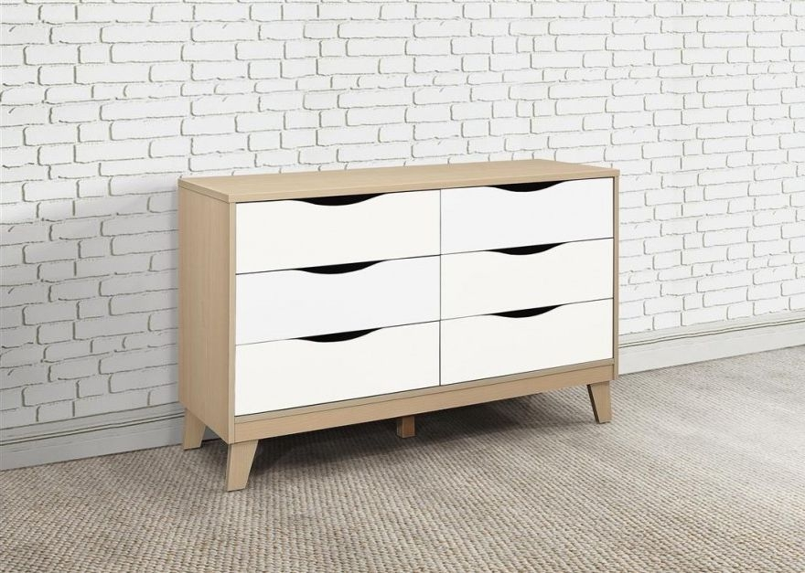 Kingston Beech and White Chest of Drawer - 3+3 Drawer