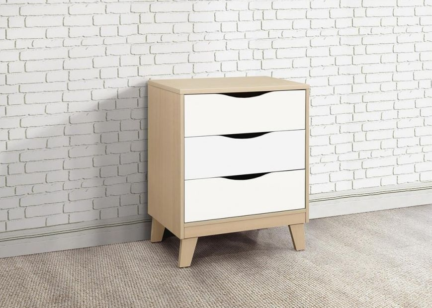 Kingston Beech and White Chest of Drawer - 3 Drawer