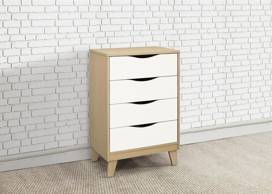 Kingston Beech and White Chest of Drawer - 4 Drawer