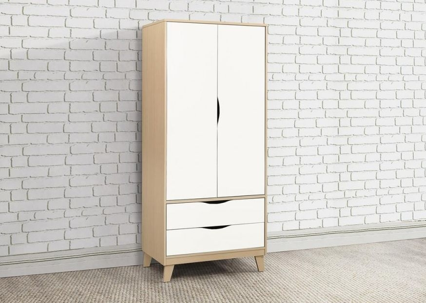 Kingston Beech and White Double Wardrobe - 2 Door 2 Drawer