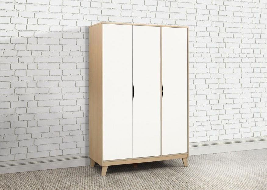 Kingston Beech and White Triple Wardrobe - 3 Door