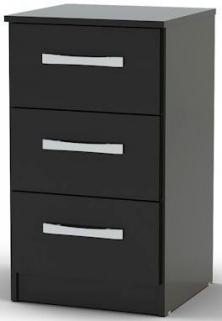 Birlea Lynx Black Gloss Bedside Cabinet - 3 Drawer