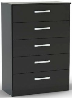 Birlea Lynx Black Gloss Chest of Drawer - 5 Drawer