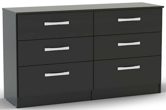Birlea Lynx Black Gloss Chest of Drawer - 6 Drawer