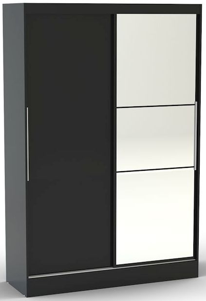Birlea Lynx Black Gloss Sliding Wardrobe - 2 Door with Mirror