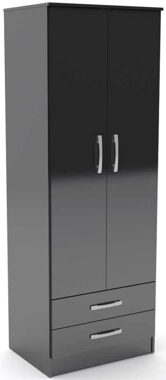 Birlea Lynx Black Gloss Wardrobe - 2 Door Combi