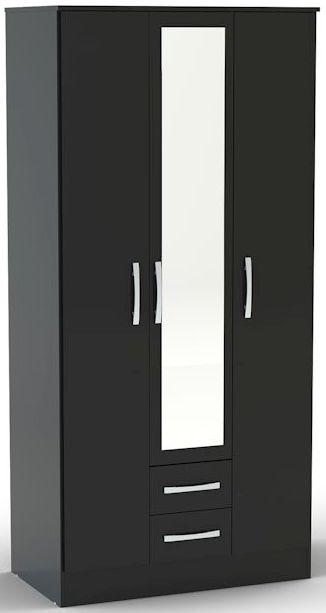 Birlea Lynx Black Gloss Wardrobe - 3 Door 2 Drawer with Mirror