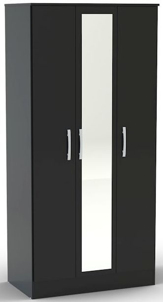 Birlea Lynx Black Gloss Wardrobe - 3 Door Mirror