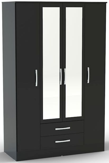 Birlea Lynx Black Gloss Wardrobe - 4 Door 2 Drawer with Mirror