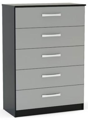 Birlea Lynx Black and Grey Gloss Chest of Drawer - 5 Drawer