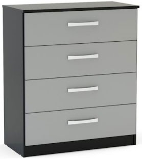 Birlea Lynx Black and Grey Gloss Chest of Drawer - 4 Drawer