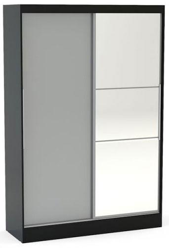 Birlea Lynx Black and Grey Gloss Sliding Wardrobe - 2 Door with Mirror