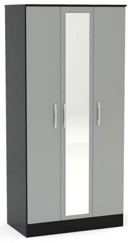 Birlea Lynx Black and Grey Gloss Wardrobe - 3 Door Mirror