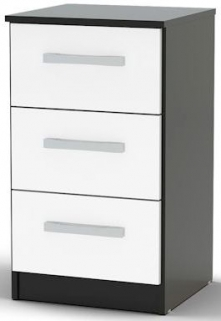 Birlea Lynx Black and White Gloss Bedside Cabinet - 3 Drawer