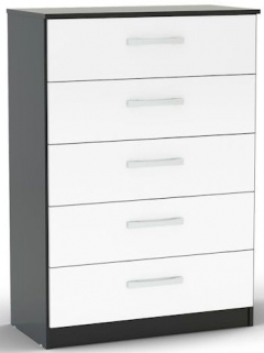 Birlea Lynx Black and White Gloss Chest of Drawer - 5 Drawer