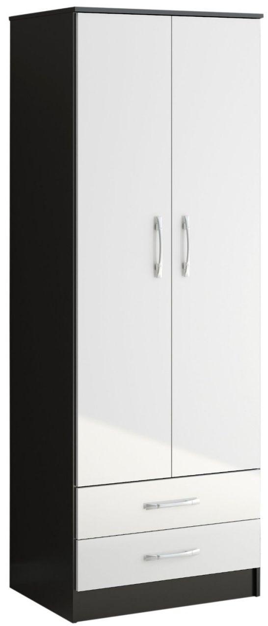 Birlea Lynx Black and White Gloss Wardrobe - 2 Door Combi