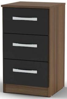 Birlea Lynx Walnut and Black Gloss Bedside Cabinet - 3 Drawer