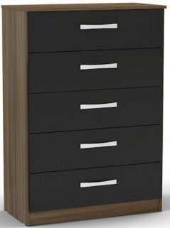 Birlea Lynx Walnut and Black Gloss Chest of Drawer - 5 Drawer