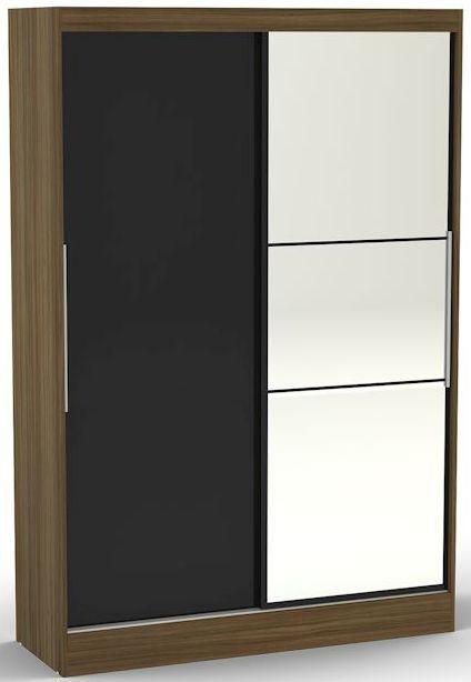Birlea Lynx Walnut and Black Gloss Sliding Wardrobe - 2 Door with Mirror