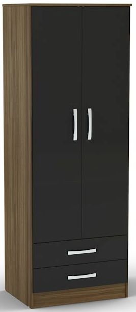 Birlea Lynx Walnut and Black Gloss Wardrobe - 2 Door Combi