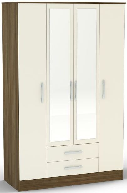 Birlea Lynx Walnut and Cream Gloss Wardrobe - 4 Door 2 Drawer with Mirror