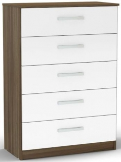 Birlea Lynx Walnut and White Gloss Chest of Drawer - 5 Drawer