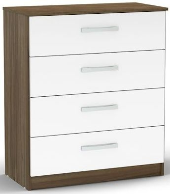 Birlea Lynx Walnut and White Gloss Chest of Drawer - 4 Drawer